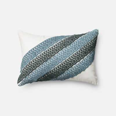 "P0322 BLUE / WHITE Pillow - 13"" x 21""; Poly insert - Loma Threads"