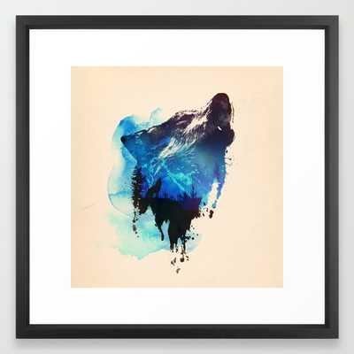 Alone as a wolf 22x22 framed - Society6