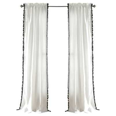 Pom Pom Single Curtain Panel- Black - Wayfair