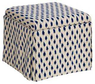 Anne Skirted Storage Ottoman, Blue Spots - One Kings Lane