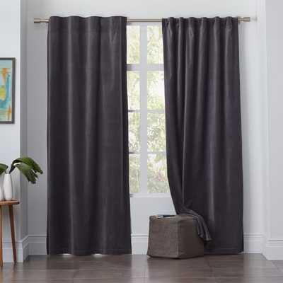 "Velvet Pole Pocket Curtain - Iron; 124""l x 48""w (Blackout Lining) - West Elm"