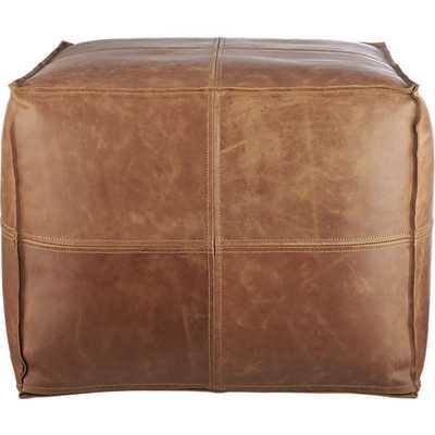 Leather pouf - CB2