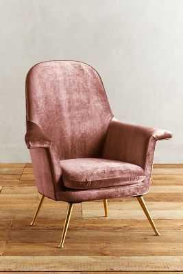 Slub Velvet Kimball Chair - Rosewood - Anthropologie