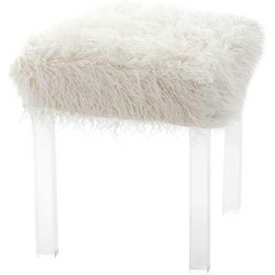 Mongolian Lamb Faux Fur Acrylic Square Leg Stool - AllModern