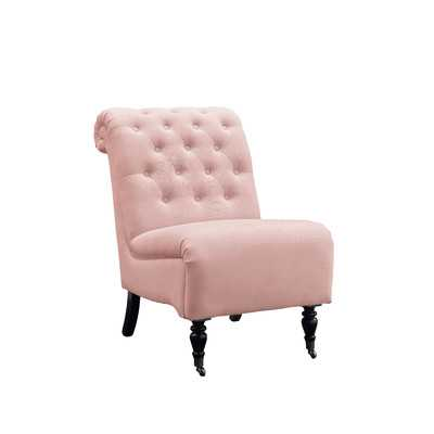 Cyclamen Roll Back Tufted Parson Chair - Washed Pink - Wayfair