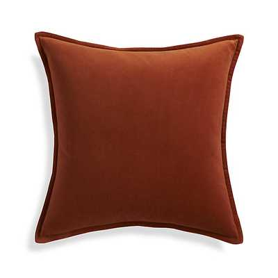 """Brenner Rust Orange 20"""" Velvet Pillow with Feather-Down Insert - Crate and Barrel"""