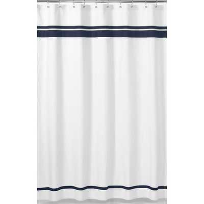 Shaya Braven Cotton Shower Curtain-White / Navy - Wayfair