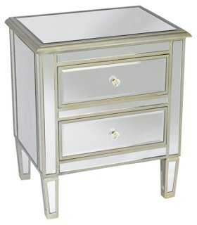 Remy Mirrored Nightstand, Silver - One Kings Lane