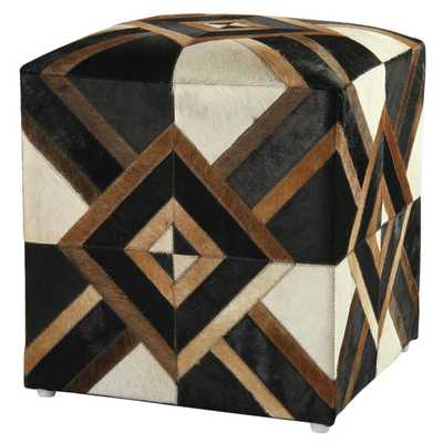 Diamond Hide 21-inch Brown Leather Pouf Ottoman - Overstock