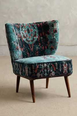 Dhurrie Occasional Chair - Dark Turquoise - Anthropologie