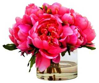 "12"" Peonies in Cylinder, Faux - One Kings Lane"