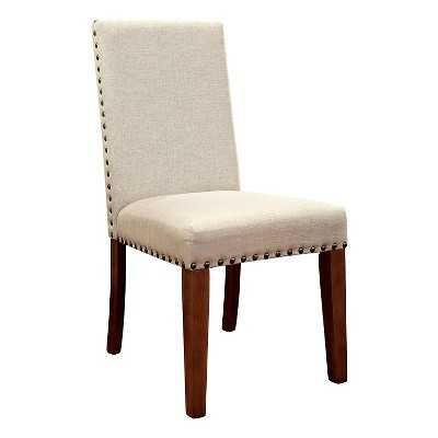 Nailhead Trimmed Fabric Padded Side Chair - Natural Tone - Set of 2 - Target