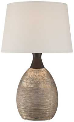 Leyna Textured Brown Ceramic Table Lamp - Lamps Plus