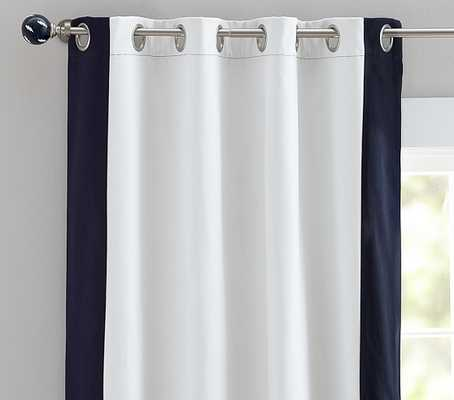"Color Bordered Blackout Panel - Navy, 84L"" - Pottery Barn Kids"