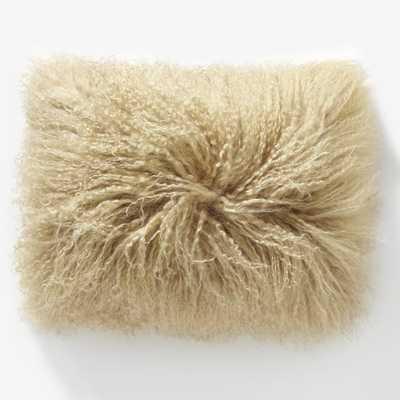 "Mongolian Lamb Pillow Cover - Pebble (12""x16"") - no insert - West Elm"