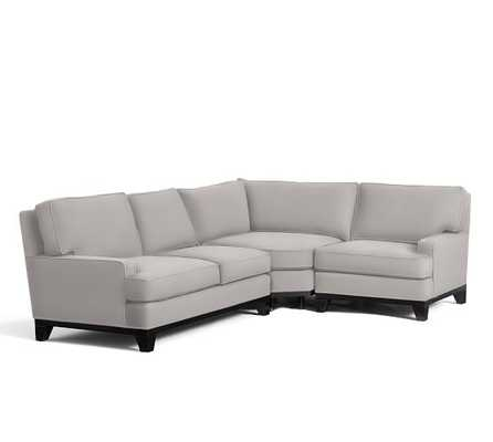 Seabury Upholstered 3-Piece Sectional - Left, Organic Cotton Twill, Gray - Pottery Barn