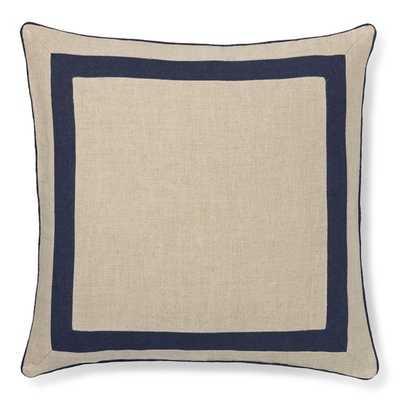 "Linen Border Pillow Cover, Navy 22"" sq- Insert sold separately - Williams Sonoma"