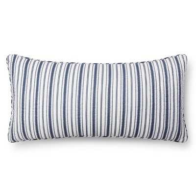 """Urban Stripe Quilted Throw Pillow - Navy - 12""""x24"""" - Feather fill - Target"""