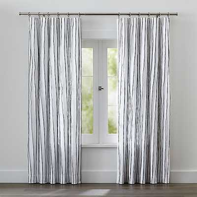 "Kendal Striped Curtain Panel - Blue, 84""L - Crate and Barrel"