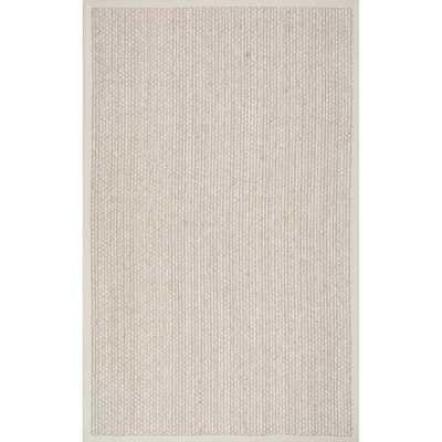 Casual Natural Fiber Solid Sisal/ Wool Border Rug - Overstock