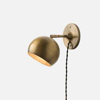 Isaac Plug-In Sconce Brass - Short Arm-Black Twisted Cord - Schoolhouse Electric