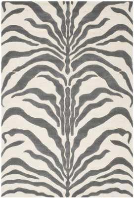 Nahla Dark Gray Zebra Area Rug - 8' x 10' - Domino
