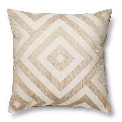 """Metallic Diamond Neutral Throw Pillow - 18"""" x 18"""" - Polyester fill - Target"""