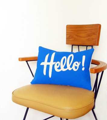 "Decorative Pillow Cover Lumbar Blue Hello 12"" x 16"" Cotton Canvas Bright Colorful Decor Throw Pillow - Etsy"