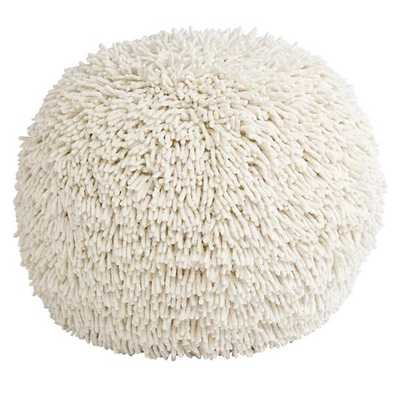 White Shaggy Pouf Seat - Land of Nod