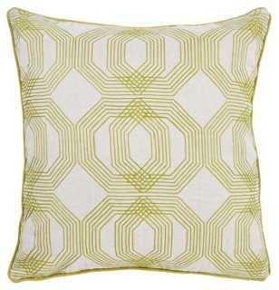 Kyoto 22x22 Cotton-Blended Pillow, Green - One Kings Lane
