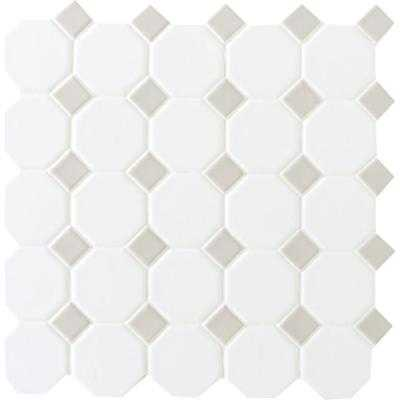 Prologue Matte White 12 in. x 12 in. x 6 mm Glazed Ceramic Octagon/Dot Mosaic Tile - Home Depot