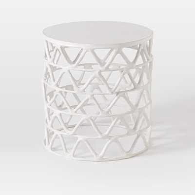 Papier-Mache Zig Zag Drum Side Table - West Elm