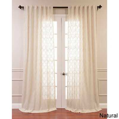"EFF Saida Embroidered Faux Linen Sheer Curtain Panel-  50""W x108""L - Overstock"