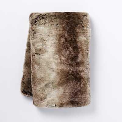 Faux Fur Ombre Throw, Mocha - West Elm