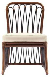 Ella Rattan Side Chair, Cinnamon/Ivory - One Kings Lane