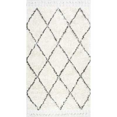 Hand-knotted Moroccan Trellis Natural Shag Wool Rug - Overstock