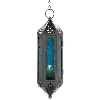 Blue Moroccan Candle Lantern - Home Depot