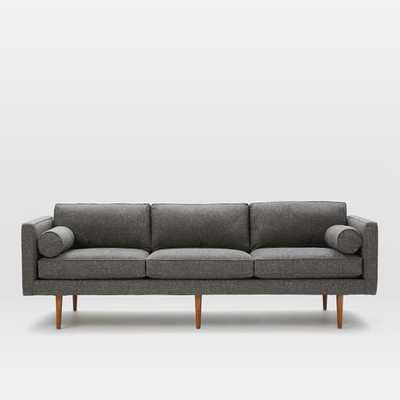"90.5"" Monroe Mid-Century Sofa - Tweed, Salt + Pepper - West Elm"
