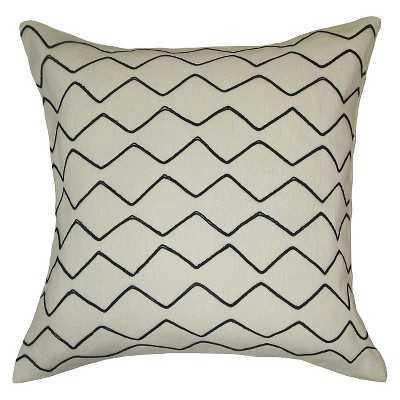 "Zig Zag Embroidered Pillow White/Black - 18"" x 18"" - Polyester Insert - Target"