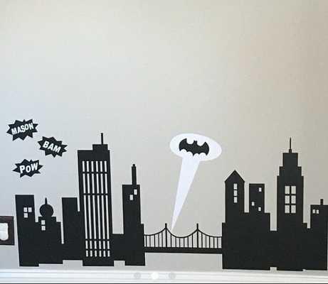 Gotham City Skyline Decal - Batman - 40wx15h - Etsy