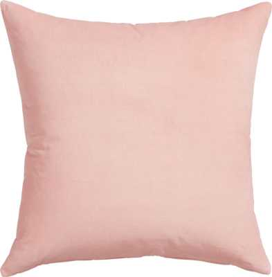 "Leisure blush 23"" pillow with feather insert - CB2"