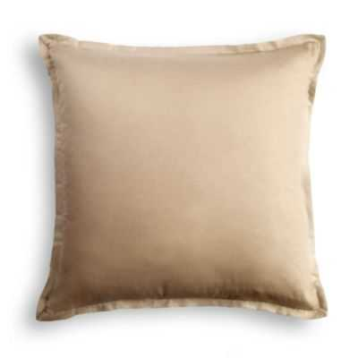 solid ivory linen pillow with citrus trim - 22x22 - Down Insert - Loom Decor