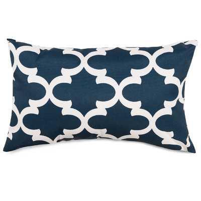 Trellis Indoor/Outdoor Lumbar Pillow - Navy, 20x12, With Insert - Wayfair