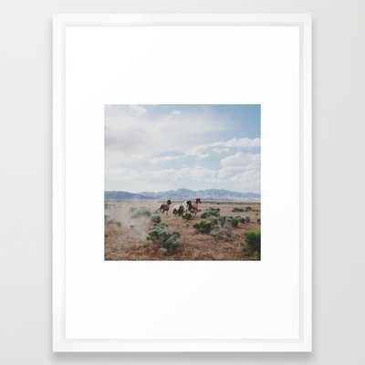 "Running Horses - FRAMED ART PRINT/VECTOR WHITE MEDIUM (GALLERY) (20"" X 26"") - Society6"