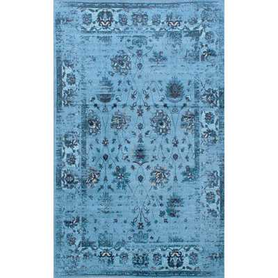 NuLOOM Traditional Vintage Inspired Overdyed Floral Turquoise Rug (9' x 12') - Overstock