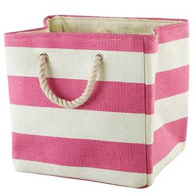 Stripes Around the Cube Bin (Pink) - Land of Nod