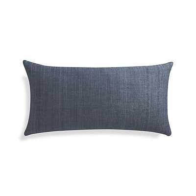 """Michaela Dusk Blue 24""""x12"""" Pillow with Feather-Down Insert - Crate and Barrel"""