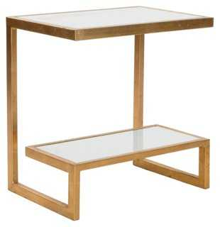 Shania Side Table, Gold/White - One Kings Lane