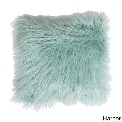 "Keller Faux Mongolian Square Throw Pillow, Harbor - 16""x16"" - Polyster insert - Overstock"