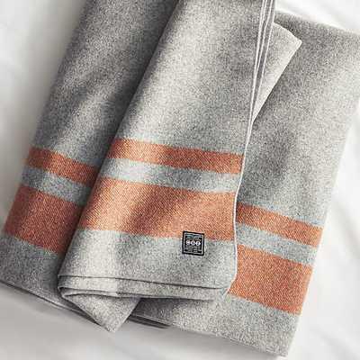 faribault orange stripe wool blanket - CB2